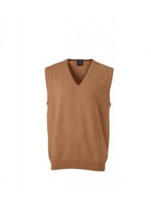 James & Nicholson Camel színű Férfi V-nyakú ujjatlan pulóver