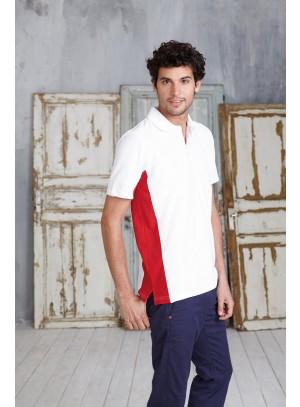 Férfi piké póló oldalán színes