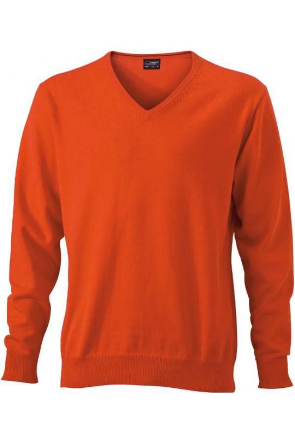 James & Nicholson Férfi V-nyakú Pulóver narancs színben
