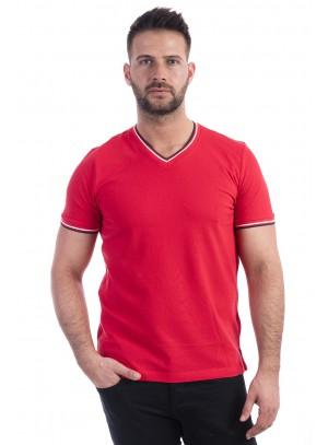 Férfi V-nyakú piké póló