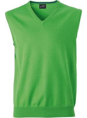 James & Nicholson zöld színű Férfi V-nyakú ujjatlan pulóver