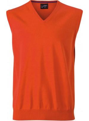 James & Nicholson  Férfi V-nyakú ujjatlan pulóver narancs színű