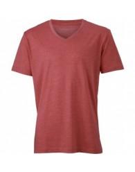James & Nicholson piros színű Férfi V-nyakú póló